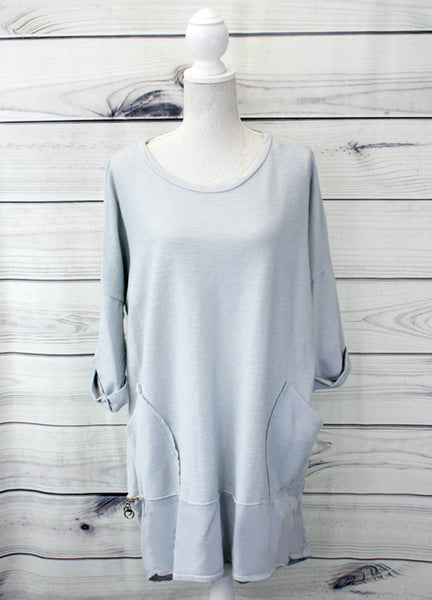 Ladies Ribbed Tunic With Zip Hem Detail - more colours available