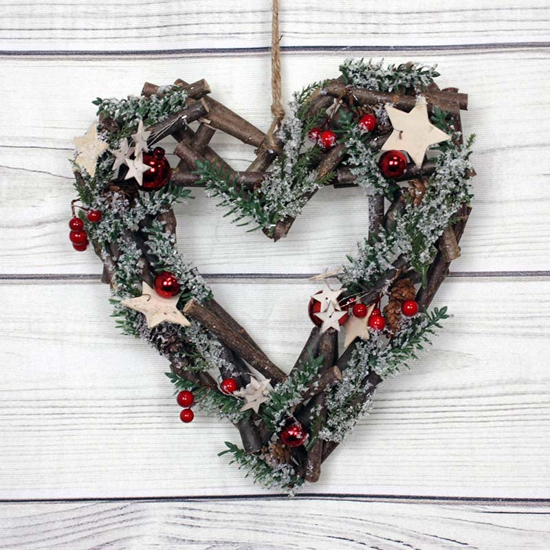Red Bauble Heart Wreath