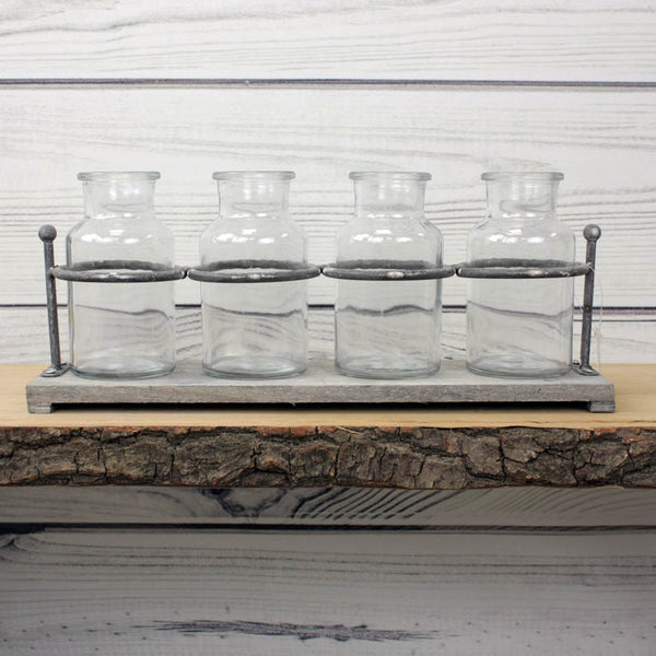 Rustic Wooden Rack With Four Mini Glass Jars
