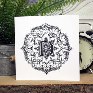 Mandala Monogram Card - D