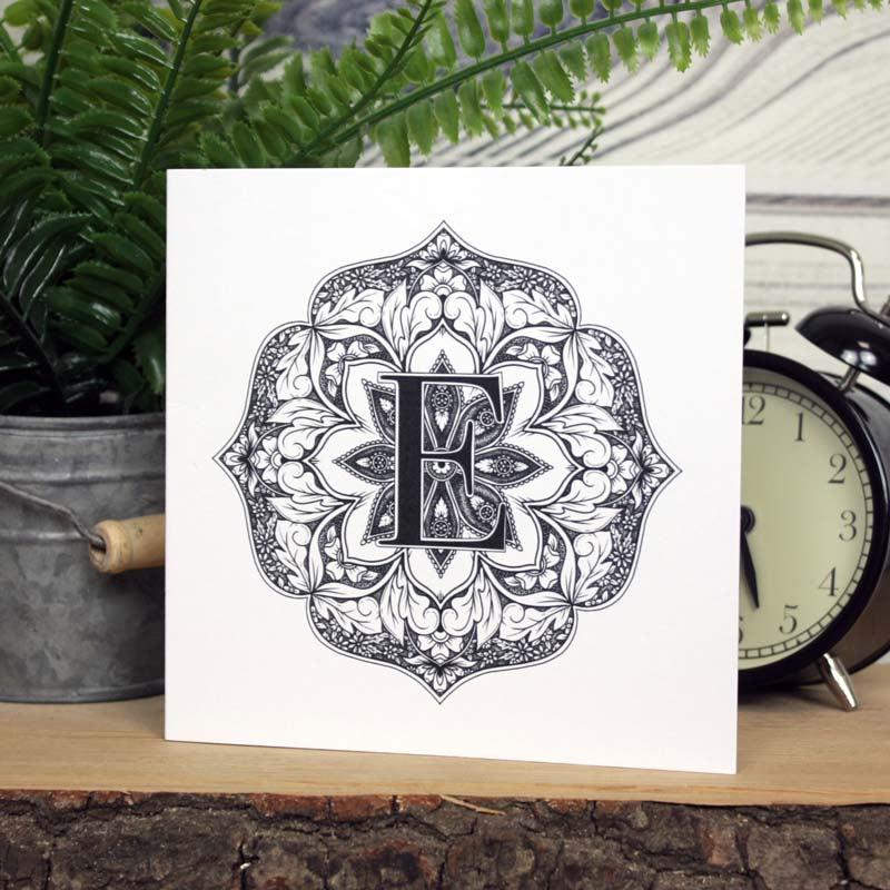 Mandala Monogram Card - E