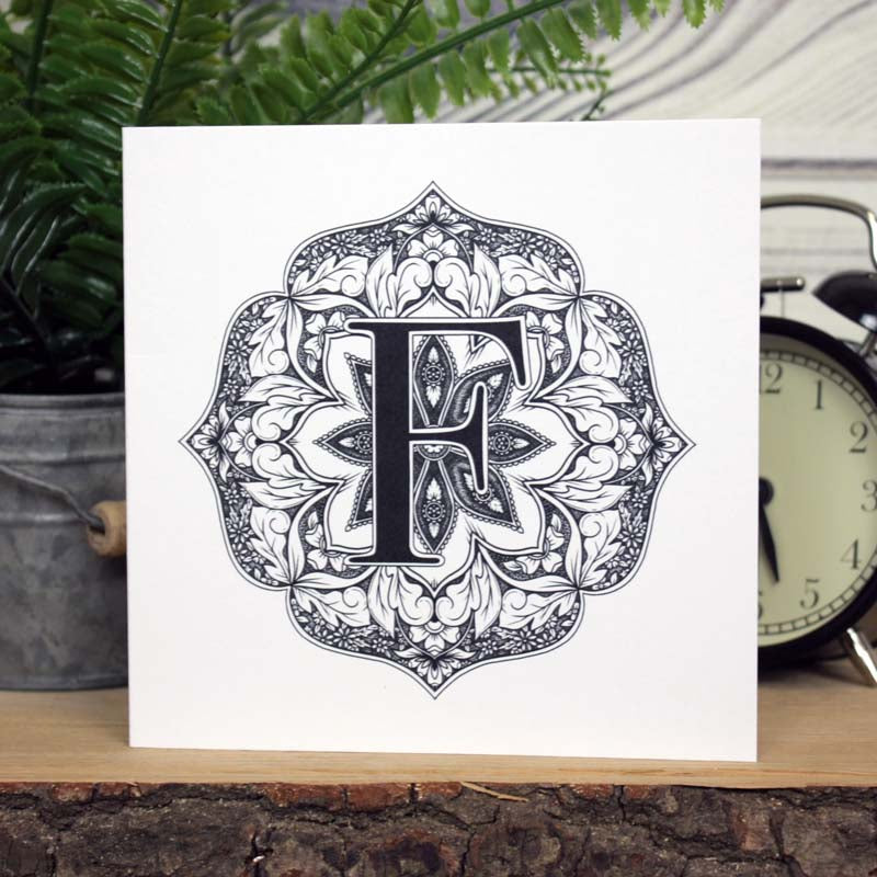 Mandala Monogram Card - F