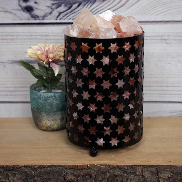 Himalayan Rock Salt Lamp in Metal Cylinder with Cut-out Stars - Approx. 19x13cm