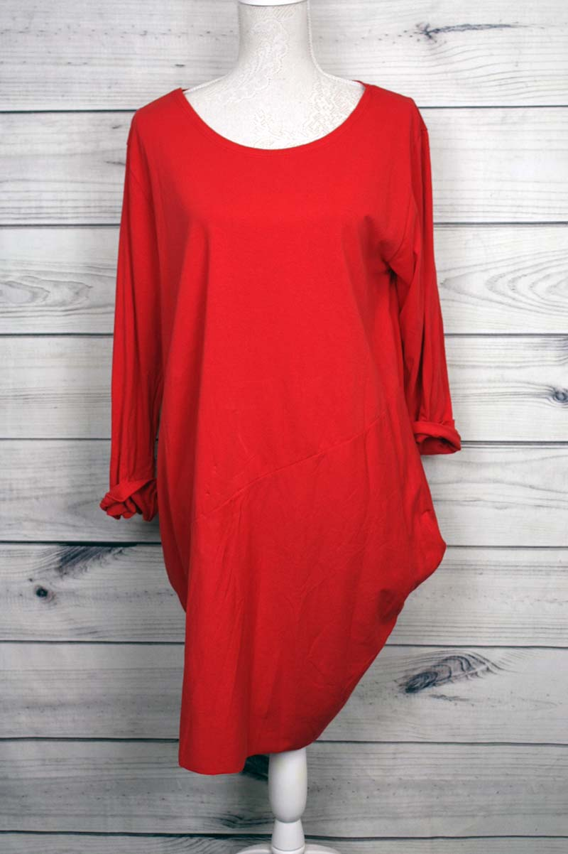 Italian Side Pockets Plain Cotton Lagenlook Dress - more colours available