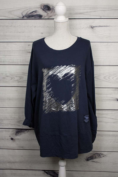 Italian Brush Stroke Foil Heart Print Fancy Cotton Tunic Top - more colours available