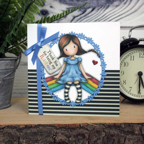 Gorjuss Greetings Card - Thank You For Being My Rainbow
