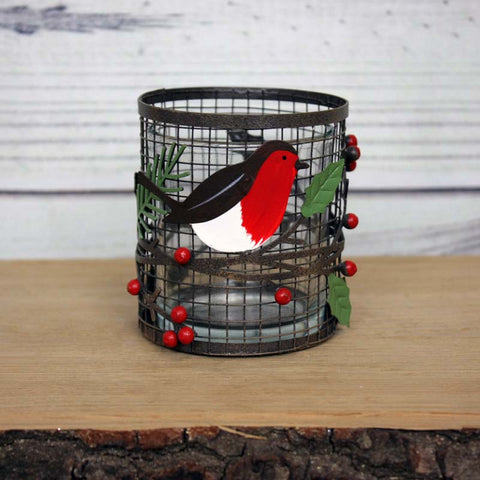 Small Votive with a Robin on a Branch