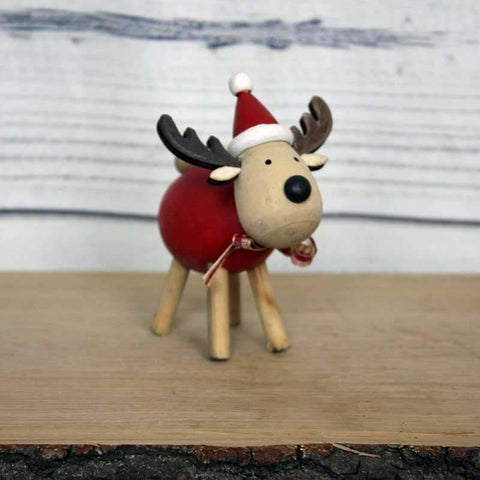 Rudi Reindeer with Red Tummy Standing Decoration