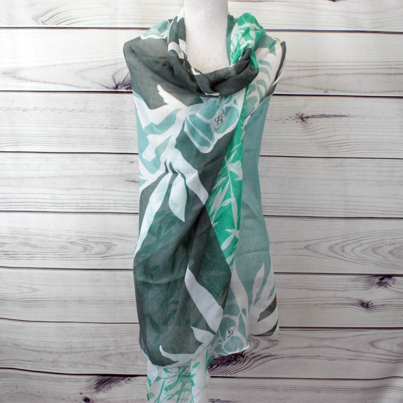 Tillie Floral and Bamboo Print Scarf - Green