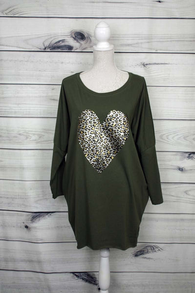 Italian Leopard Heart Print Top - more colours available