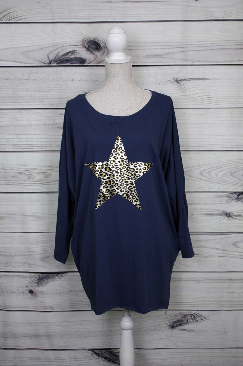 Leopard Print Star Motif Top - more colours available