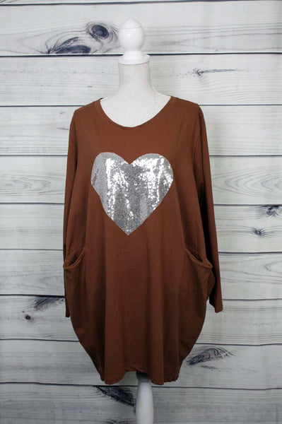 Italian Sequin Heart Pattern Pocket Top - more colours available