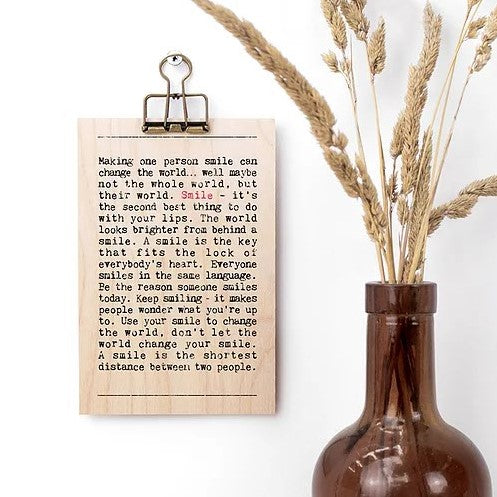 Smile Wise Words Wooden Plaque with Hanger