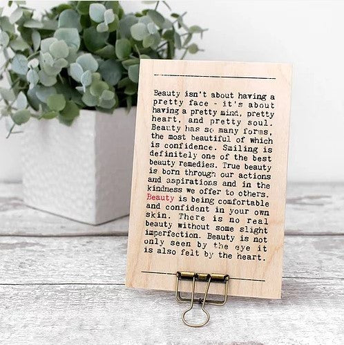 Beauty Wise Words Wooden Plaque with Hanger
