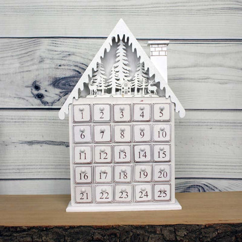 House Advent Calendar with Lights - White