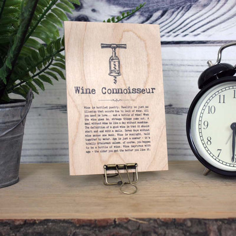 Wine Quotes Wooden Plaque with Hanger