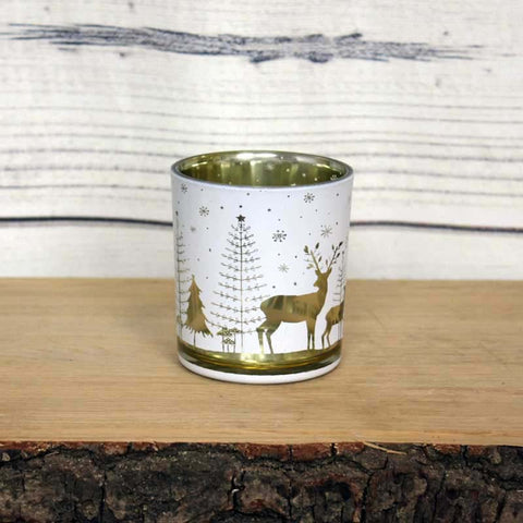 Winter Forest Folk Deer Tealight Holder