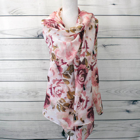 Soft Floral Printed Scarf - Pink (XS4309C03)