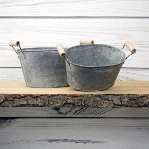 Zinc Oval Planter with Handles - Set of 2