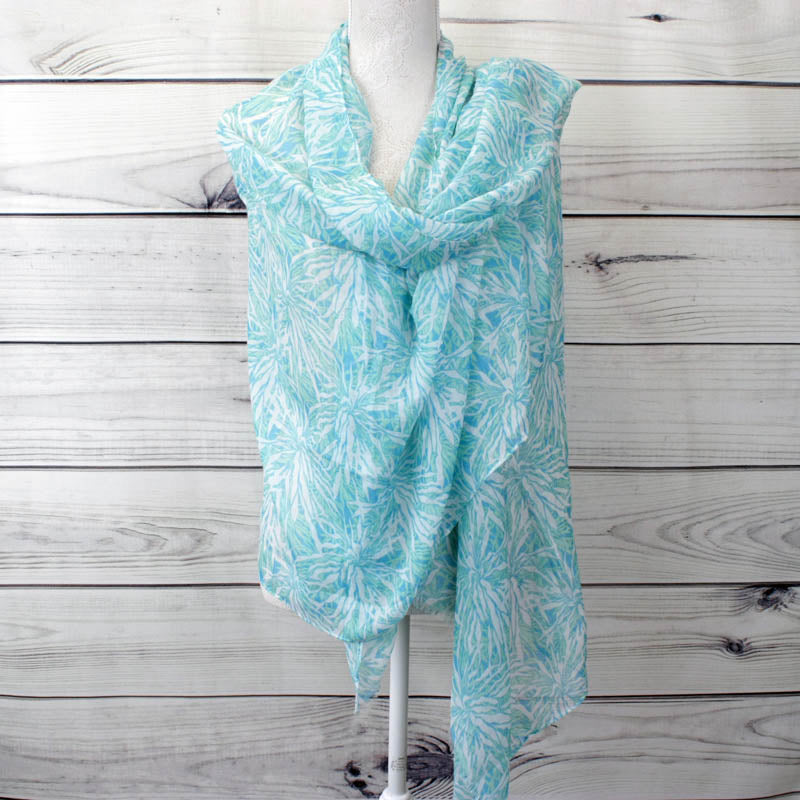 Azari Tropical Leaf Pattern Scarf - Turquoise