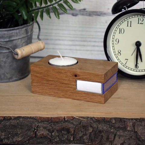 Solid Oak Tealight Holder - includes tealight and space for matches