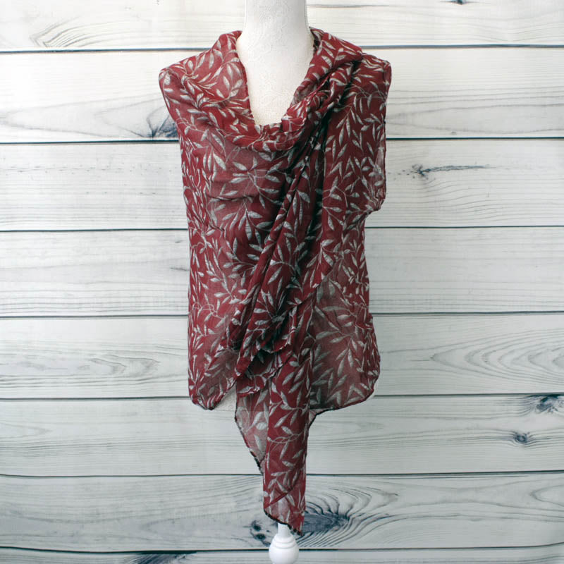 Leaf Print Design Scarf - Red (XB1942C01)