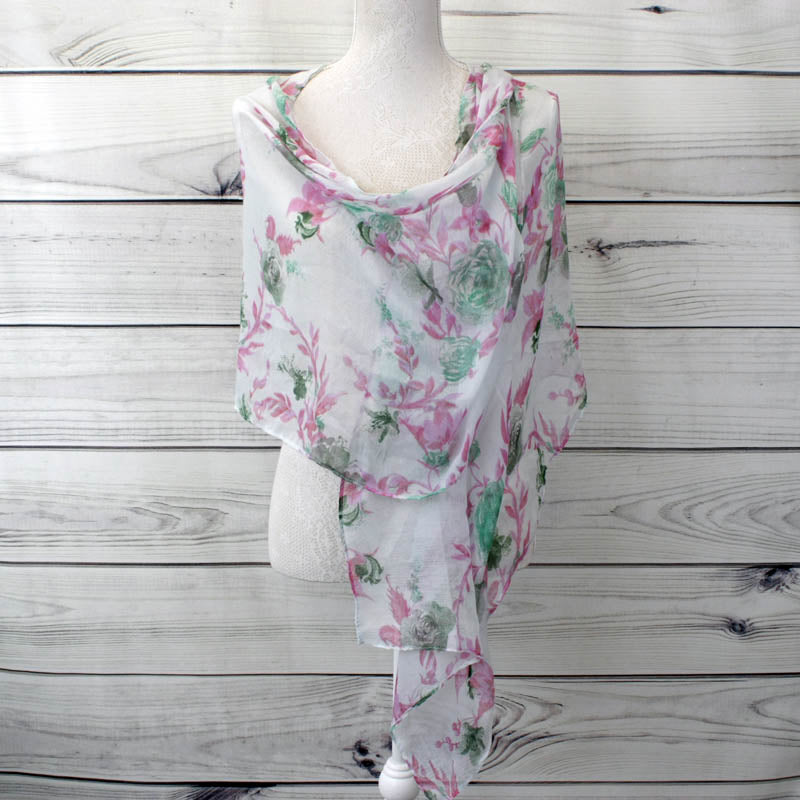 Soft Floral Printed Scarf - Light Blue (XS4311C13)