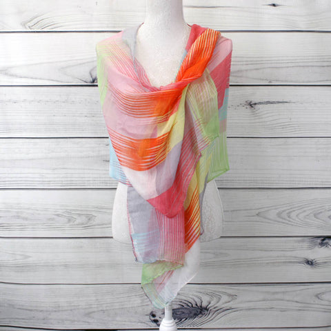 Multi-coloured Striped Printed Scarf - Red (XS4313C01)