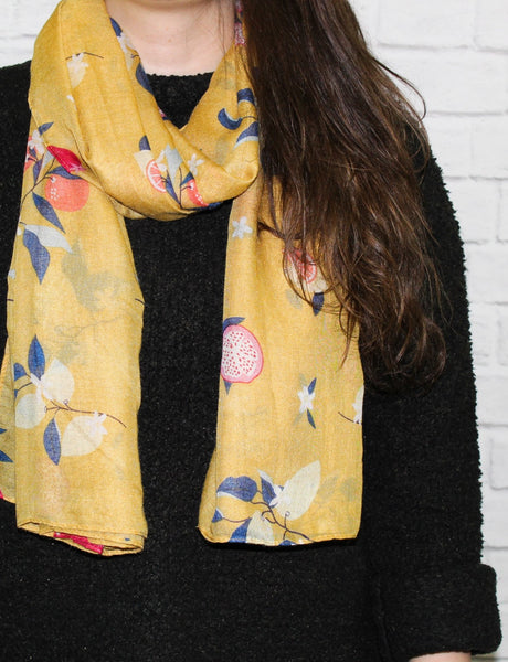 Fruit Tree Scarf - Yellow
