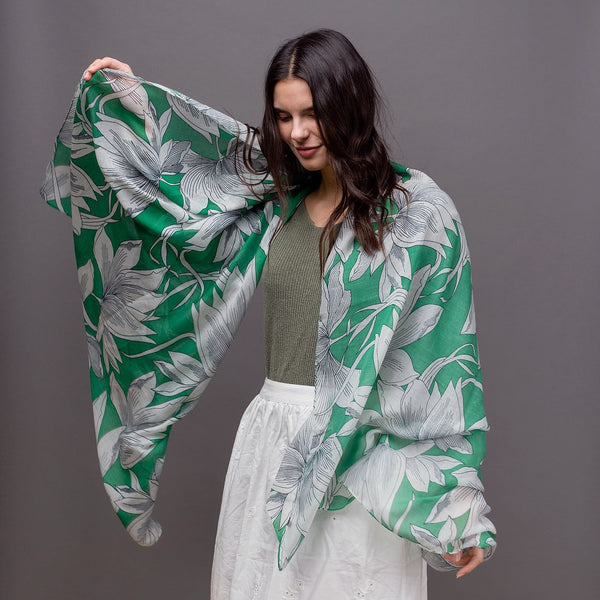 Grace Floral Scarf - Green