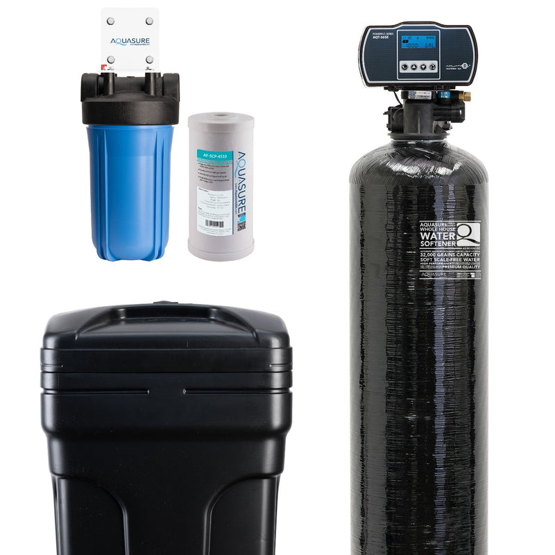 "Harmony Series Water Softener 32,000 Grain | 10"" Sediment Dual Purpose Whole House Water Filter - AS-HS32SCP"