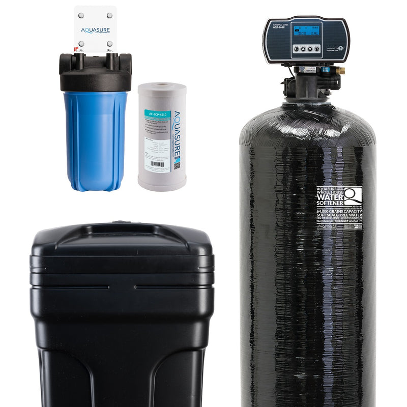 "Harmony Series Water Softener 64,000 Grains | 10"" Sediment Dual Purpose Whole House Water Filter - AS-HS48SCPAS-HS64SCP"