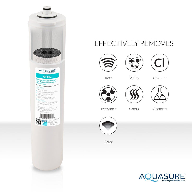 Aquasure Premier Series 2nd Stage Quick Twist 5 Micron Carbon Block Filter for Aquasure reverse osmosis filtration systems. Here is what a RO filter system can remove from water.