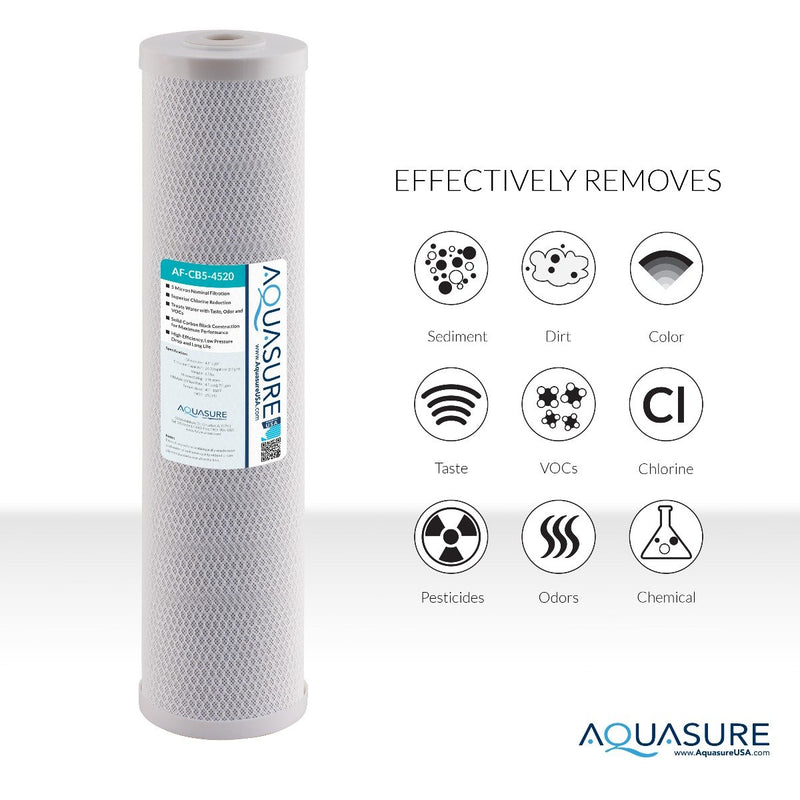 "Fortitude V Series | 20"" High Flow Whole House 5 Micron Carbon Block Water Filter-Aquasure USA"
