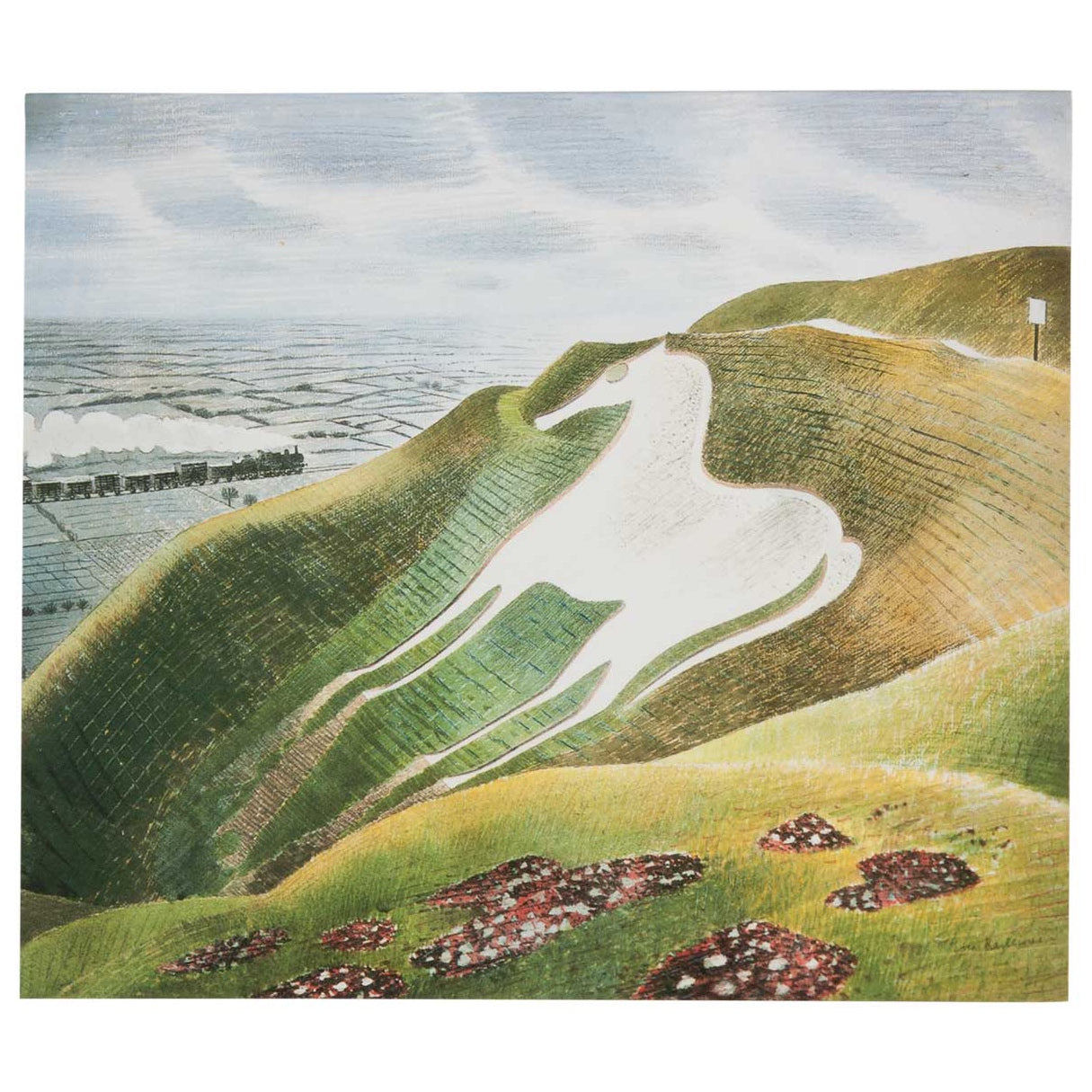 White Horse & Train - Greeting Card