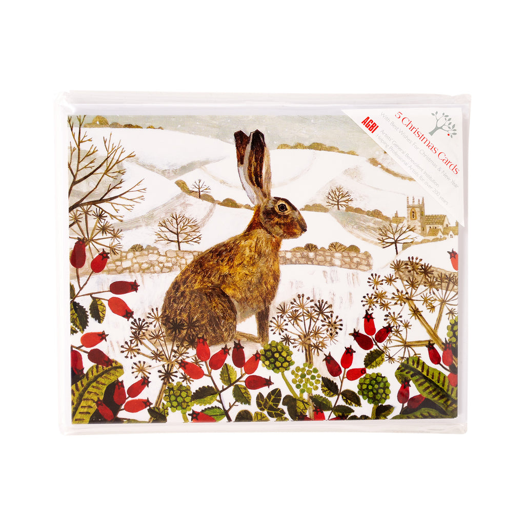 The Seated Hare In The Snow - Pack of 5 Christmas Cards