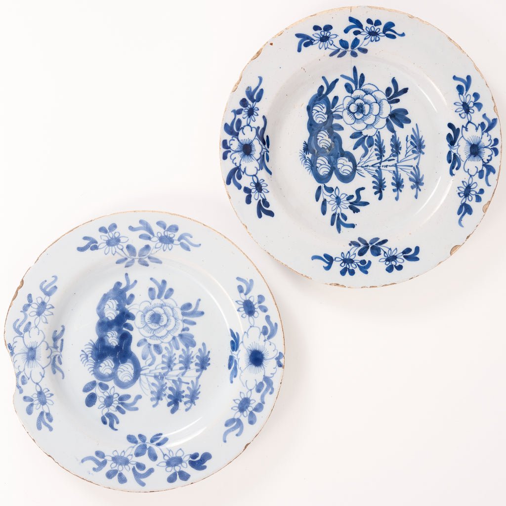 Pair of Blue & White Delft Plates c.17th