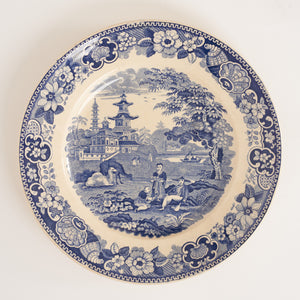 c1840 French Blue and White Transfer Pottery Plate by Lebeuf & Thibault of Montereau