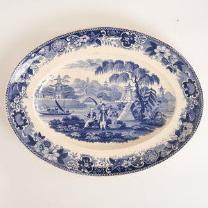 c1840 French Blue and White Transfer Pottery Platter by Lebeuf & Thibault of Montereau