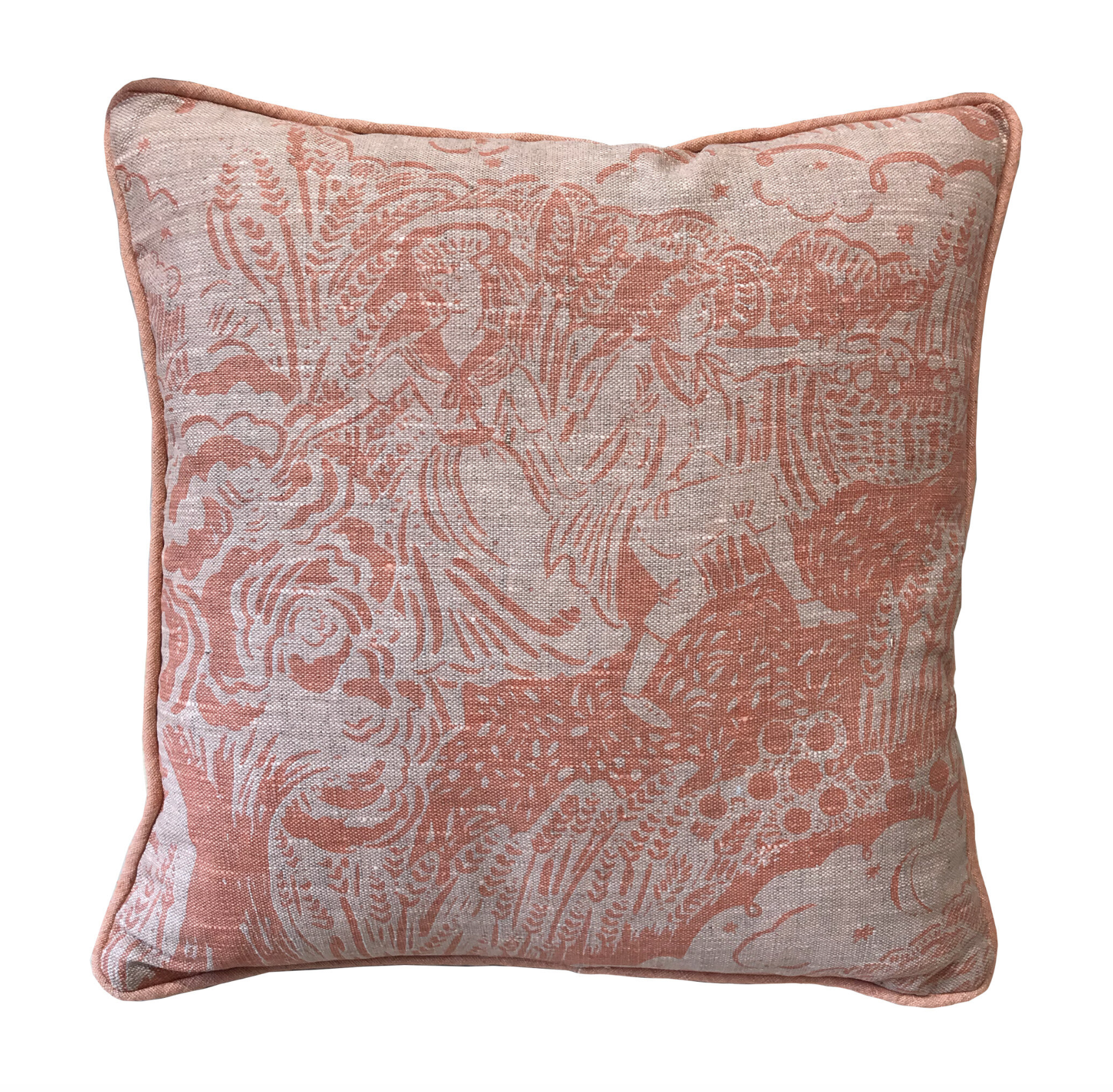 Small Apple Pickers Cushion - Coral