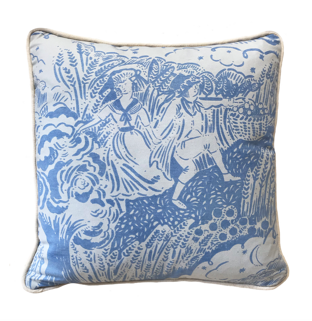 Small Apple Pickers Cushion - Field Blue