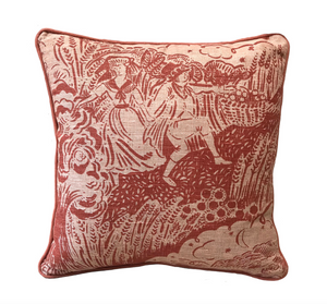 Small Apple Pickers Cushion - Rust