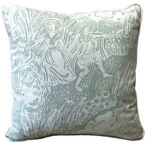 Small Apple Pickers Cushion - Corn Grey
