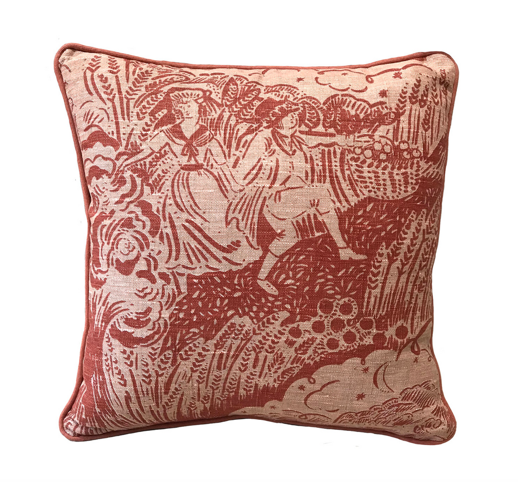 Large Apple Pickers Cushion - Rust