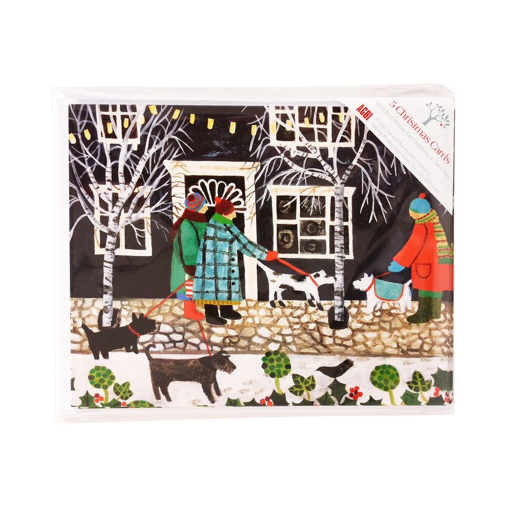 Christmas Lights With Dogs - Pack of 5 Christmas Cards