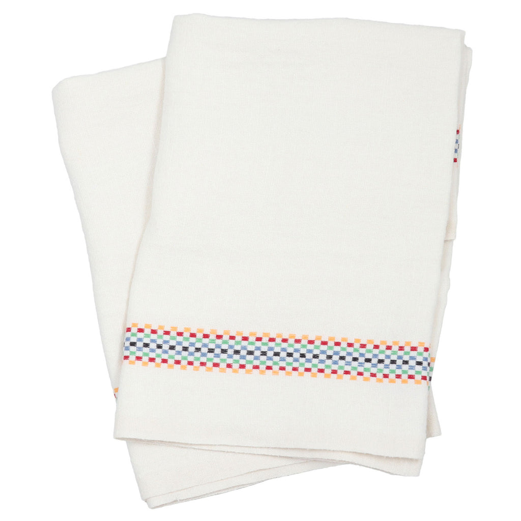 Linen Stripe Tea Towel - Multi Check Stripe