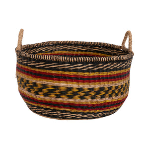 Round Zulu Basket Yellow & Red - S