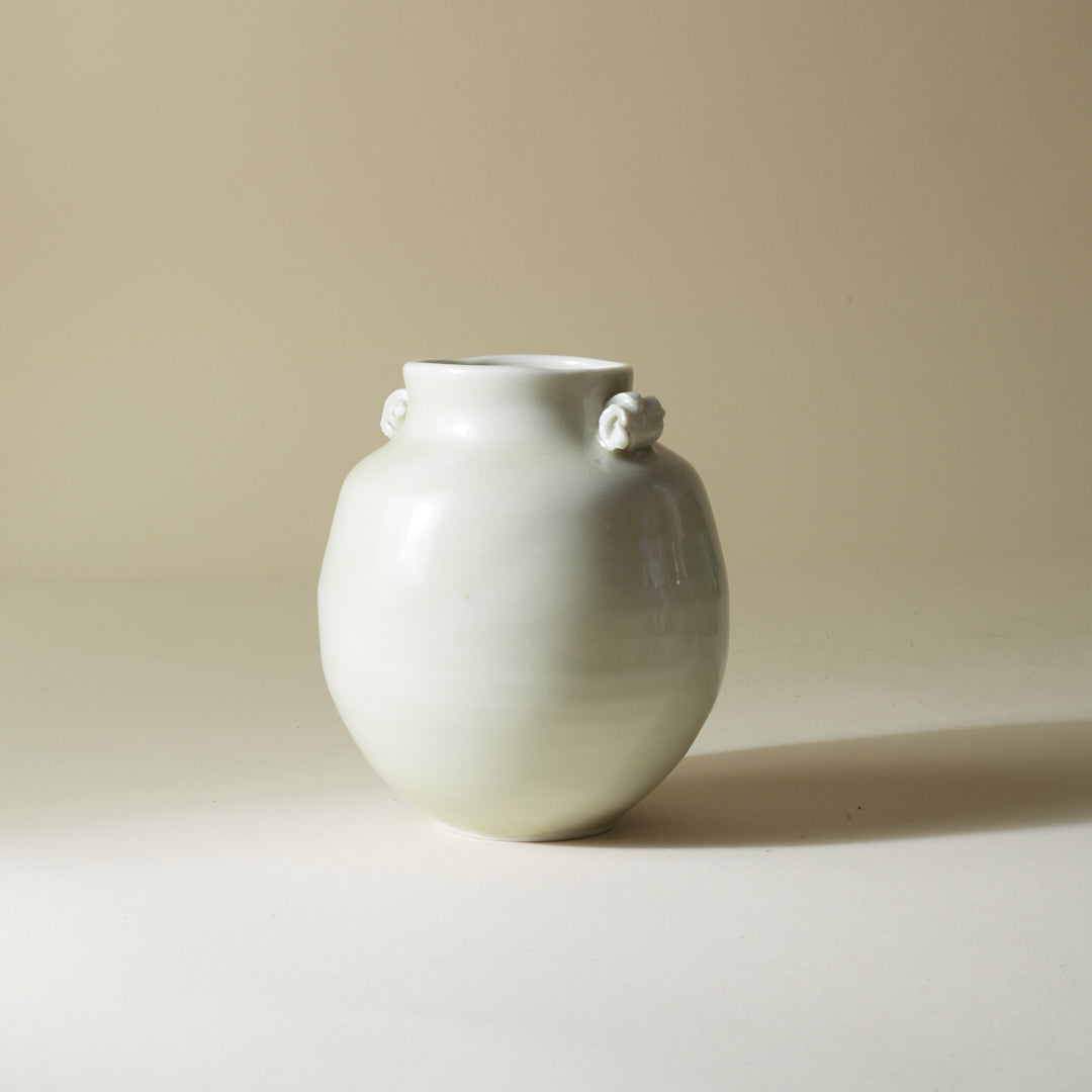 Celadon Bulbous Vase with Scroll Handles