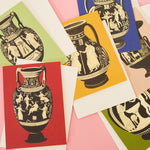 Greek Vase Greeting Card - Green