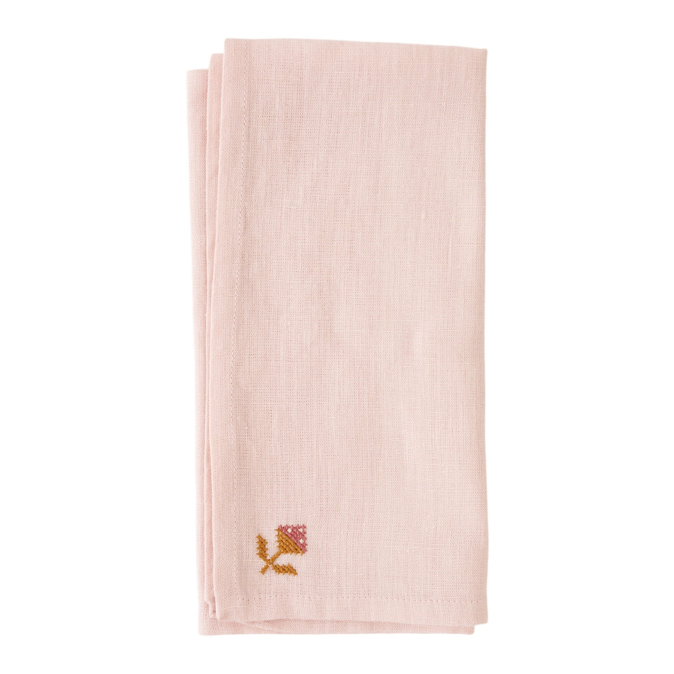Rose Bud Napkin - Light Pink
